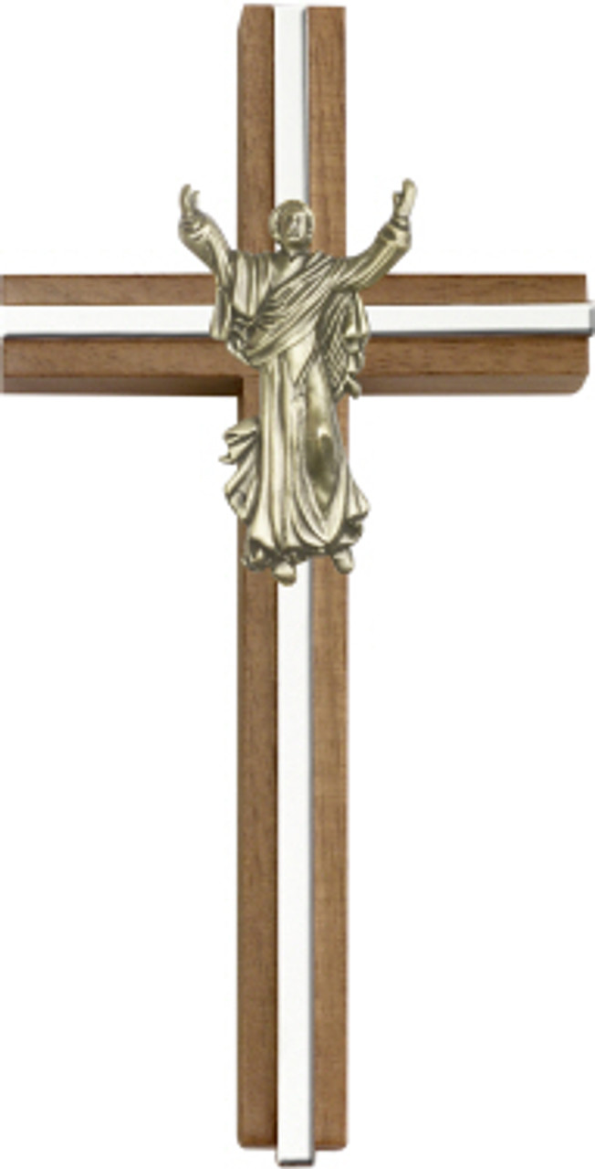 Bliss Walnut Contemporary Risen Christ Cross