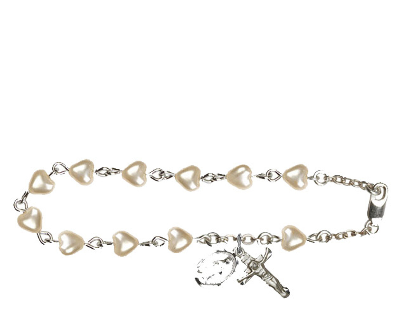 Bliss Heart Faux Pearl Beads Rosary