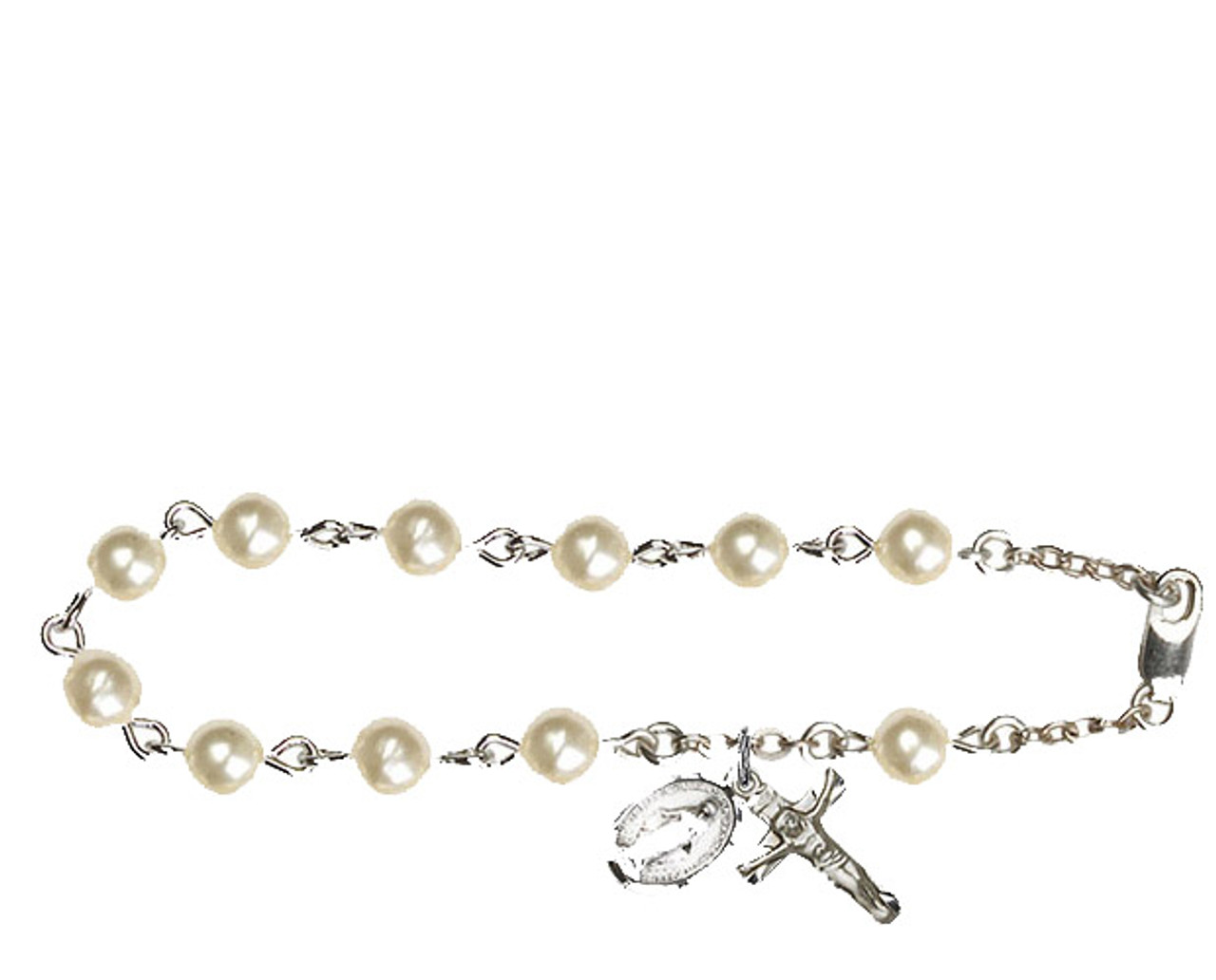 Bliss Faux Pearl Beads Rosary Bracelet