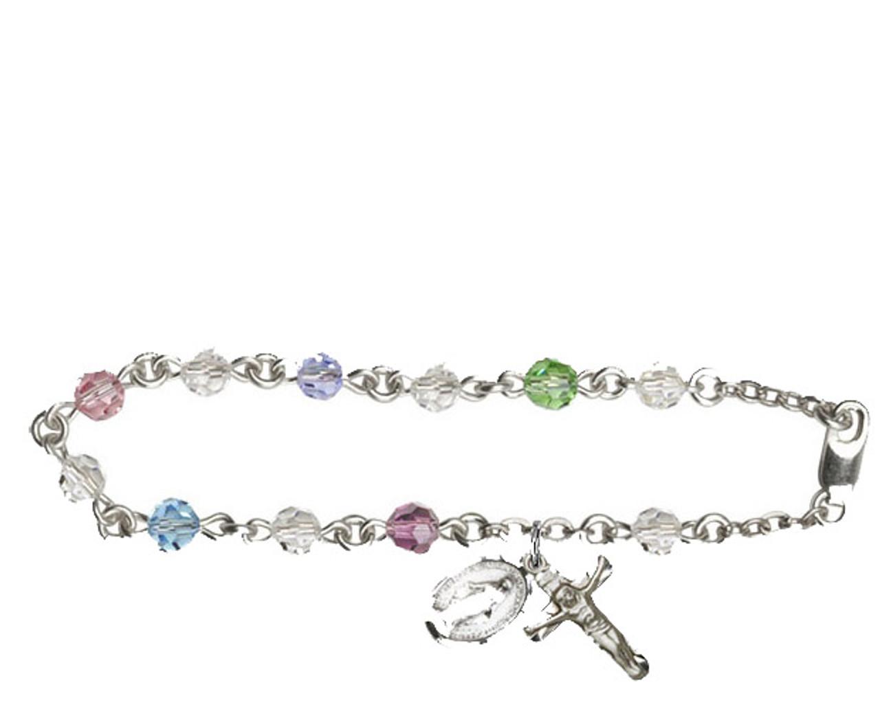 Bliss Sterling, Gold Filled and 14 Karat Rosary Bracelet with Swarovski Beads