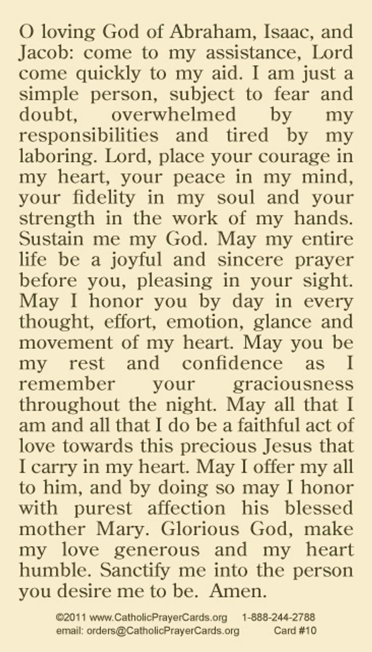 Back of PRAYER OF ST. JOSEPH PRAYER CARD