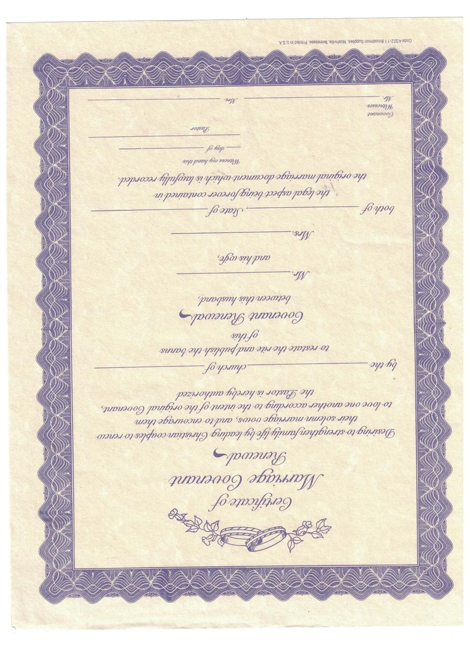 Certificate Marriage Covenant Renewal