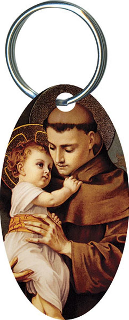 St. Anthony with Jesus Oval Keychain