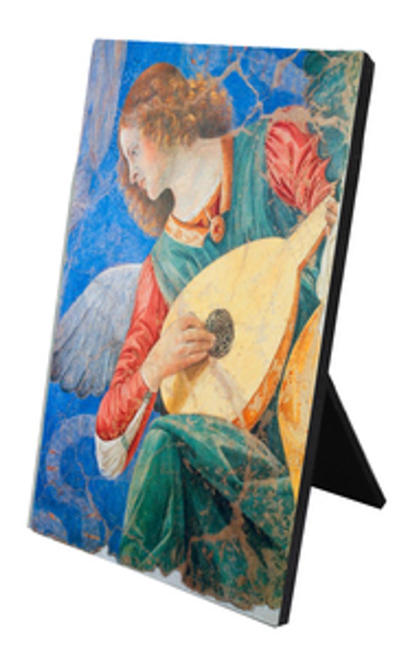 Brunette Angel Vertical Desk Plaque