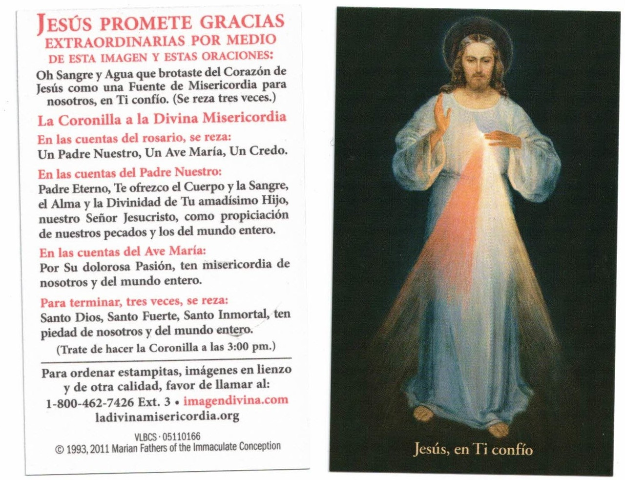 Inexpensive Divine Mercy Chaplet Prayer Card, black background Vilnius Image, Spanish