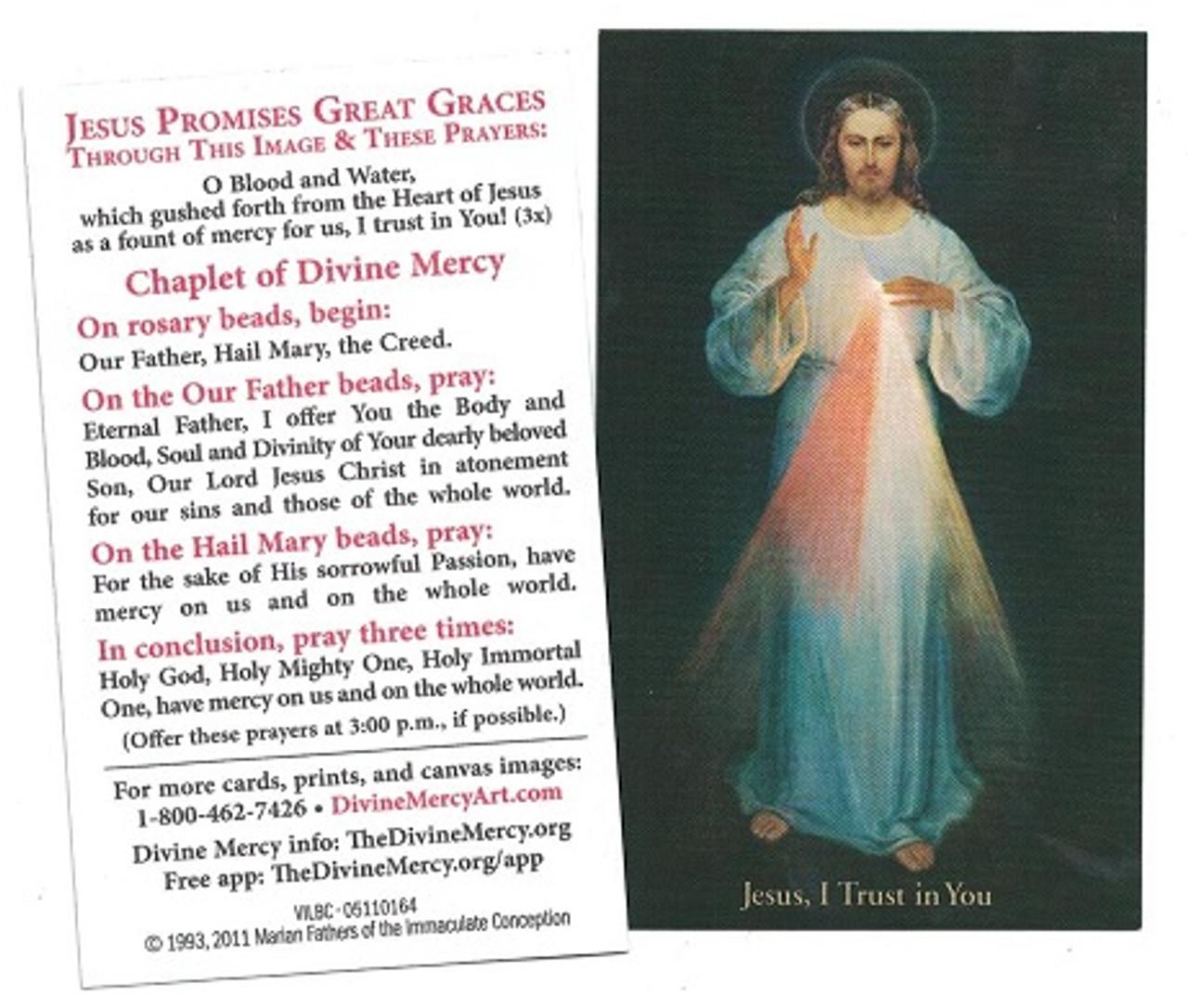 Inexpensive Divine Mercy Chaplet Prayer Card, black background Vilnius Image, English