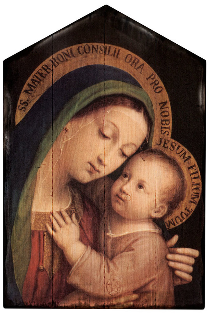 Our Lady of Good Counsel Rustic Wood Plaque