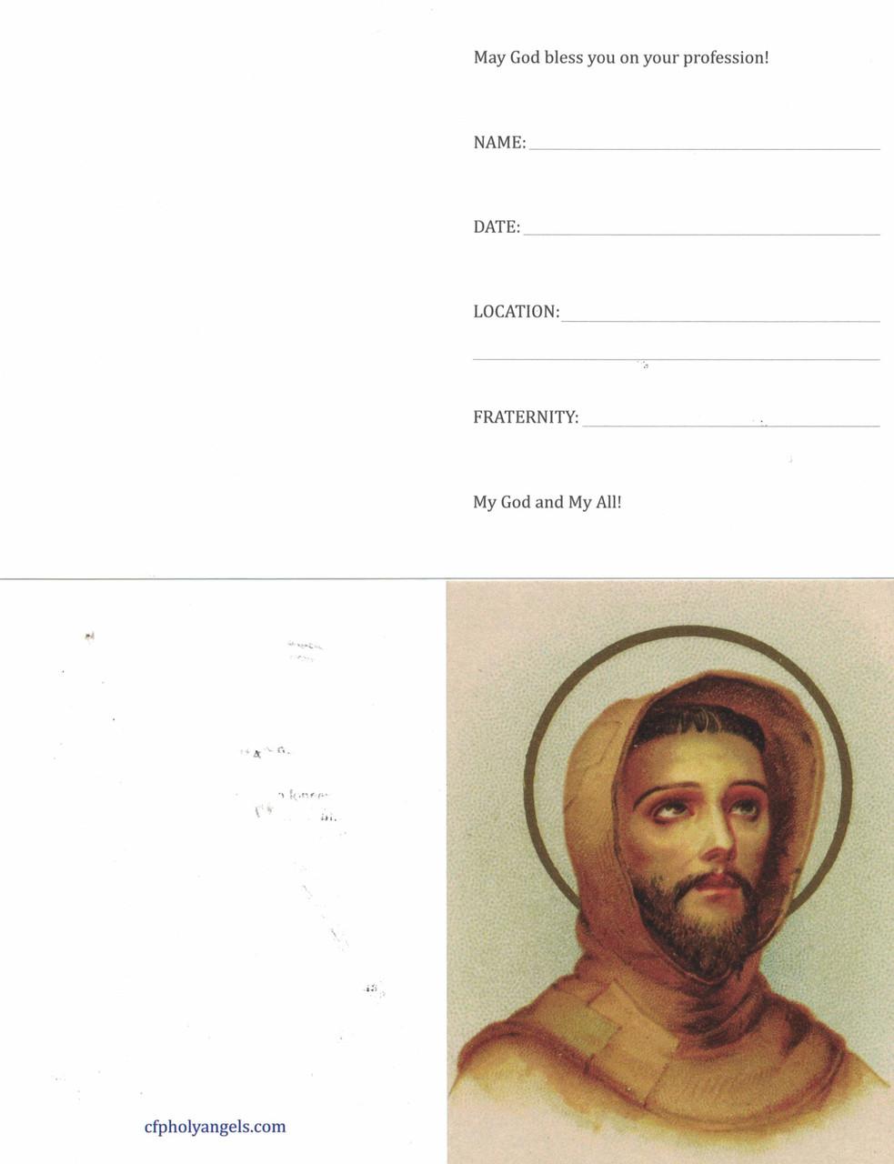 Saint Francis Franciscan Order Profession Card