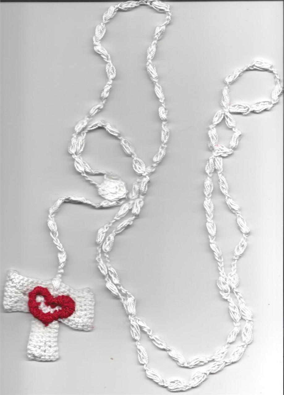 Franciscan Crown 7 Decade Crocheted Rosary--White with Red Heart