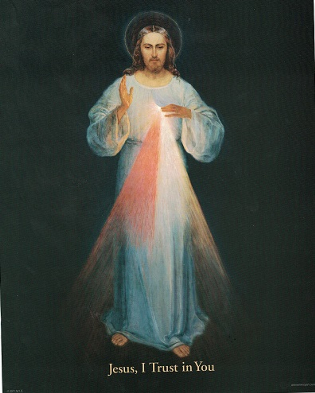 Inexpensive Divine Mercy 8 inch by 10 inch image -- Black Background -Original Image