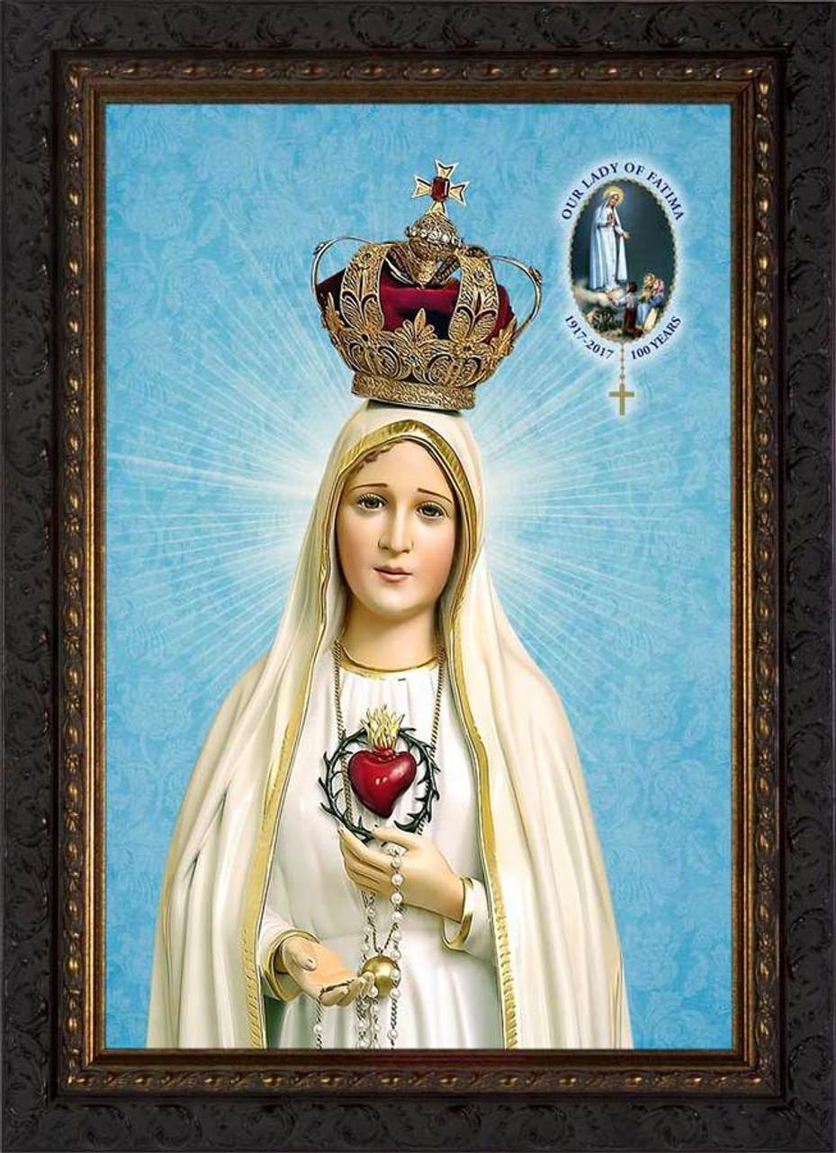 Fatima 100 Year Anniversary - Ornate Dark Framed Art