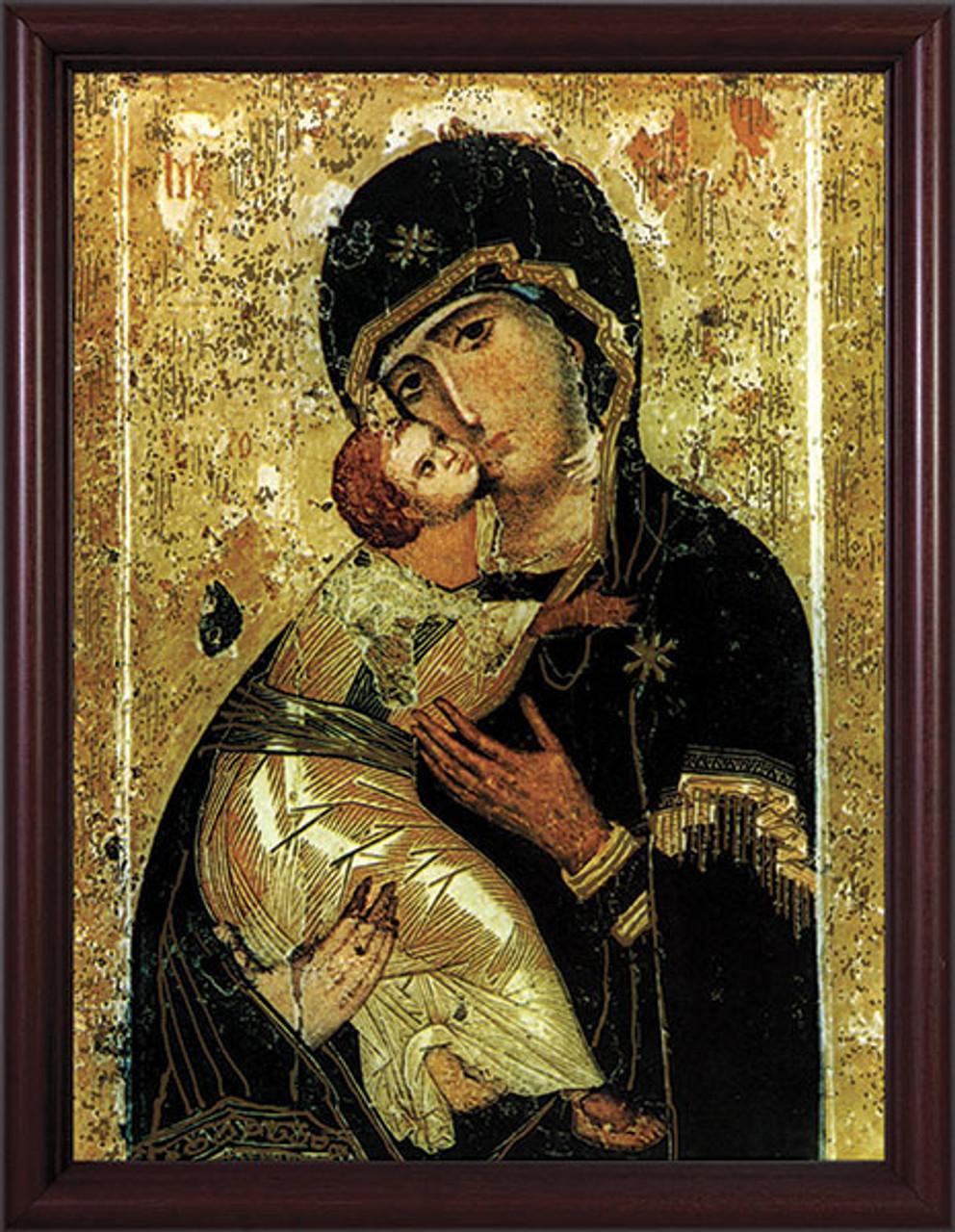 Our Lady of Vladimir - Cherry Framed Art