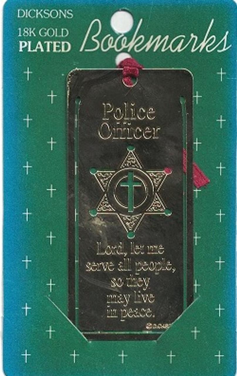 Gold (18K) Plated Police Officer Bookmark Prayer