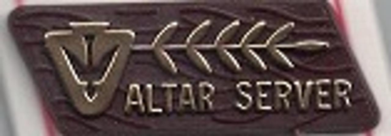 Wooden imitation altar server lapel pin