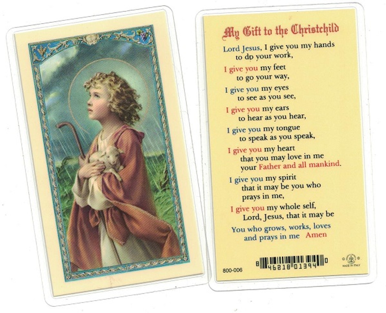My Gift To The Christchild Laminated Prayer Card