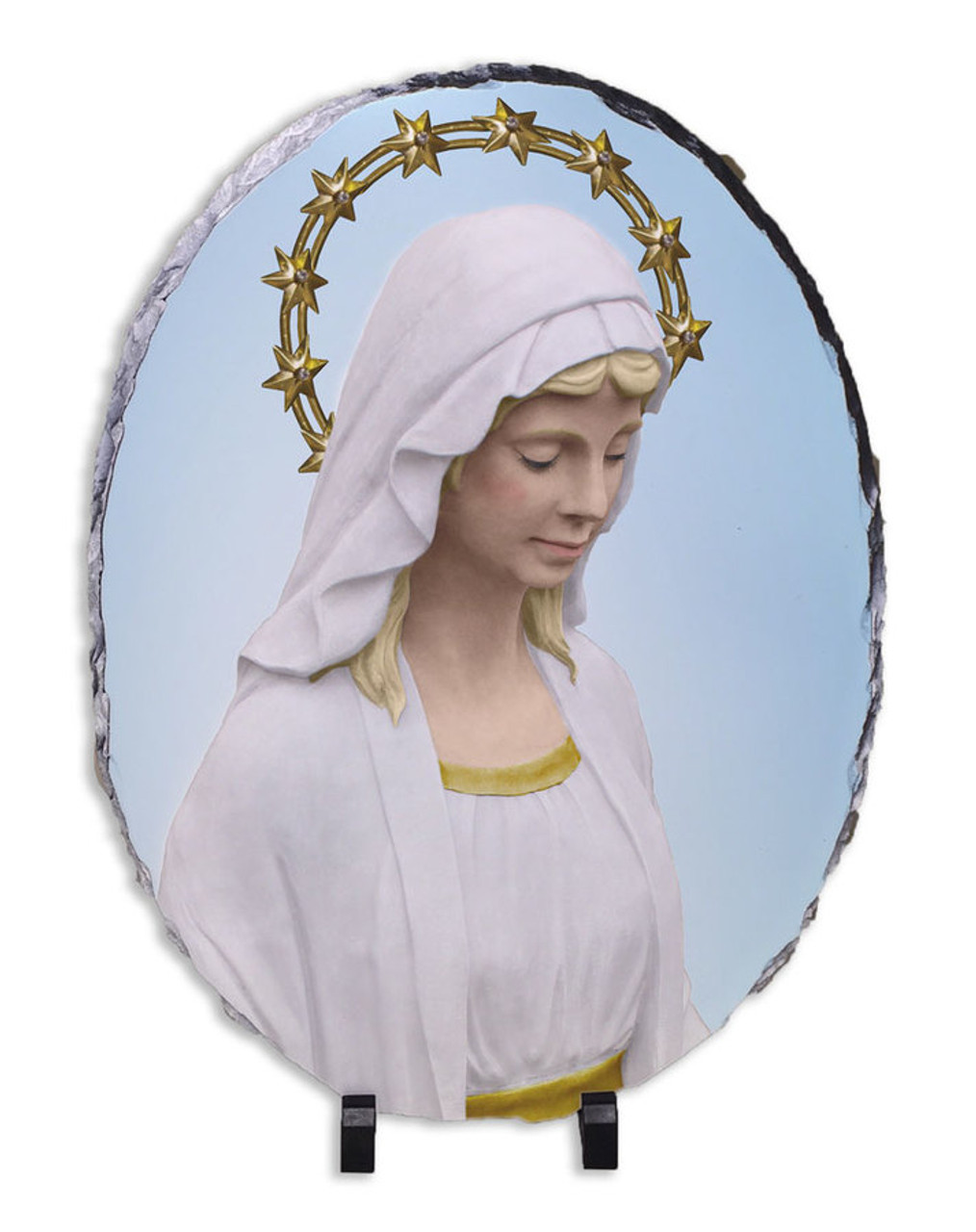 Our Lady of Good Help Oval Slate Tile