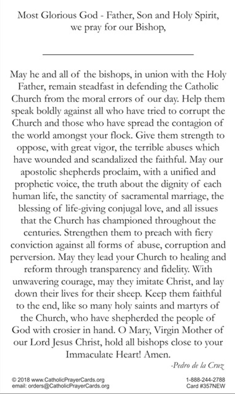 Prayer for all Bishops with place to add name of your own Bishop
