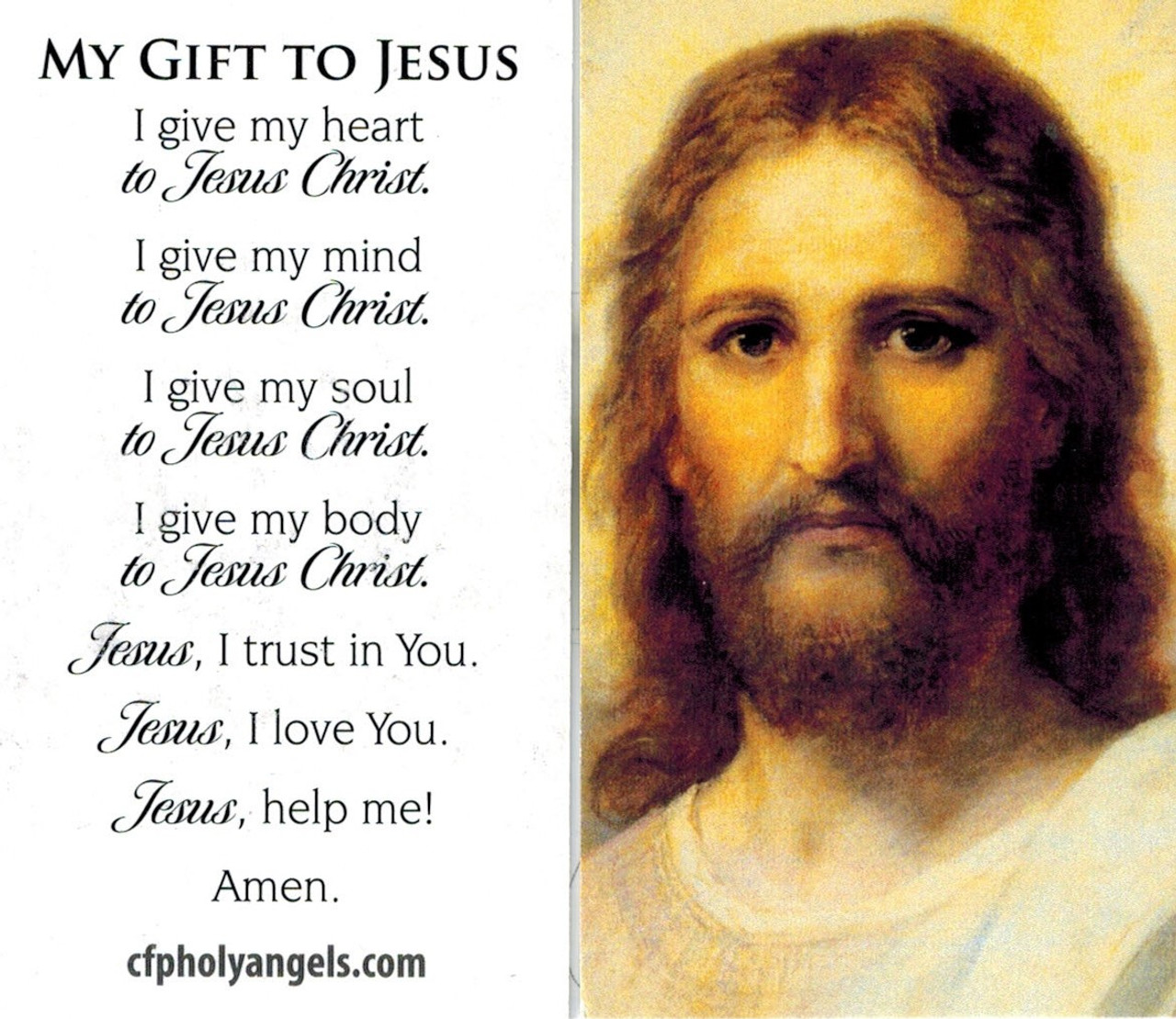 My Gift to Jesus Prayer Card