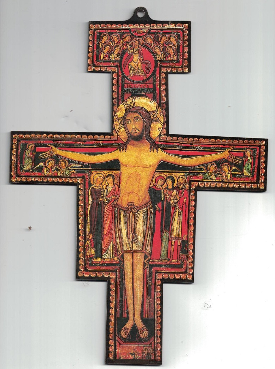 """3-D San Damiano Crucifix with gold highlights--10"""""""