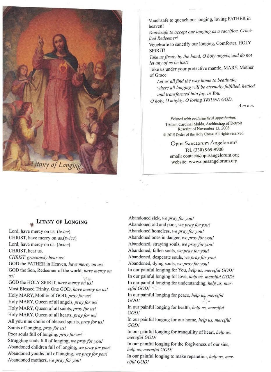 Litany Of Longing Prayer Foldout