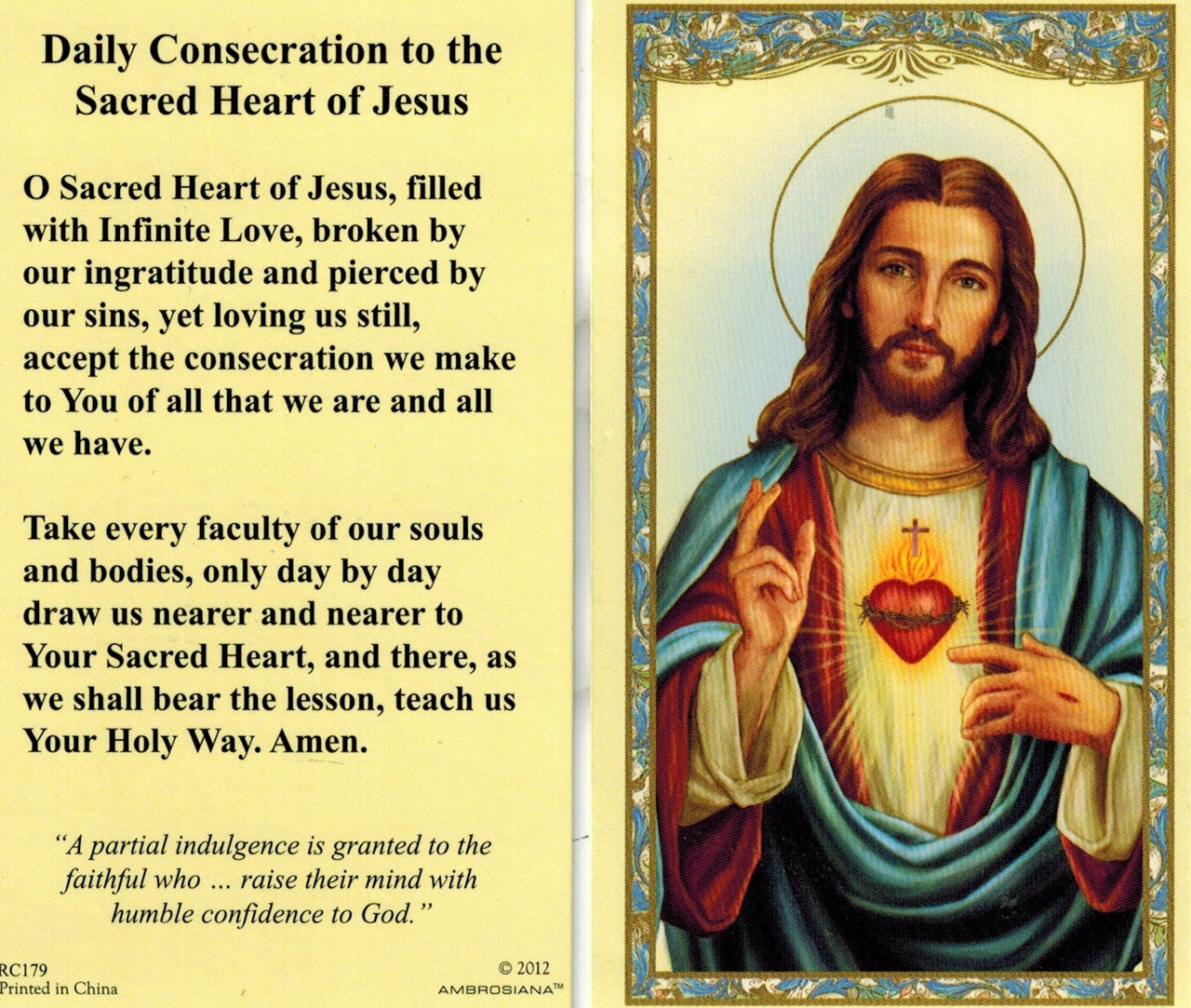 Daily Consecration to the Sacred Heart of Jesus Prayer Card