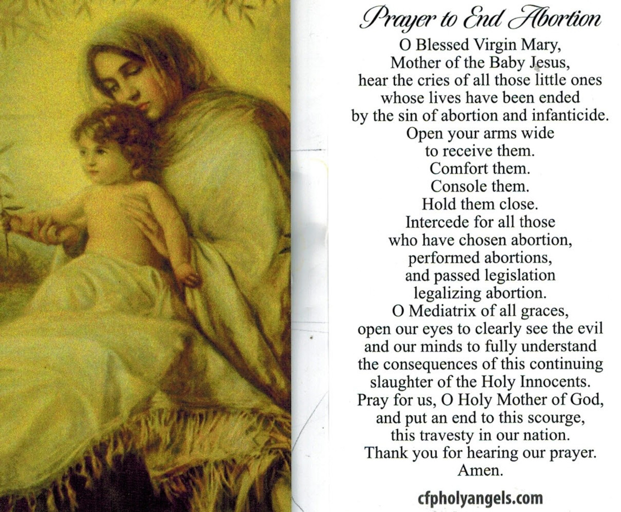 Prayer to End Abortion asking intercession of Blessed Mother Mary