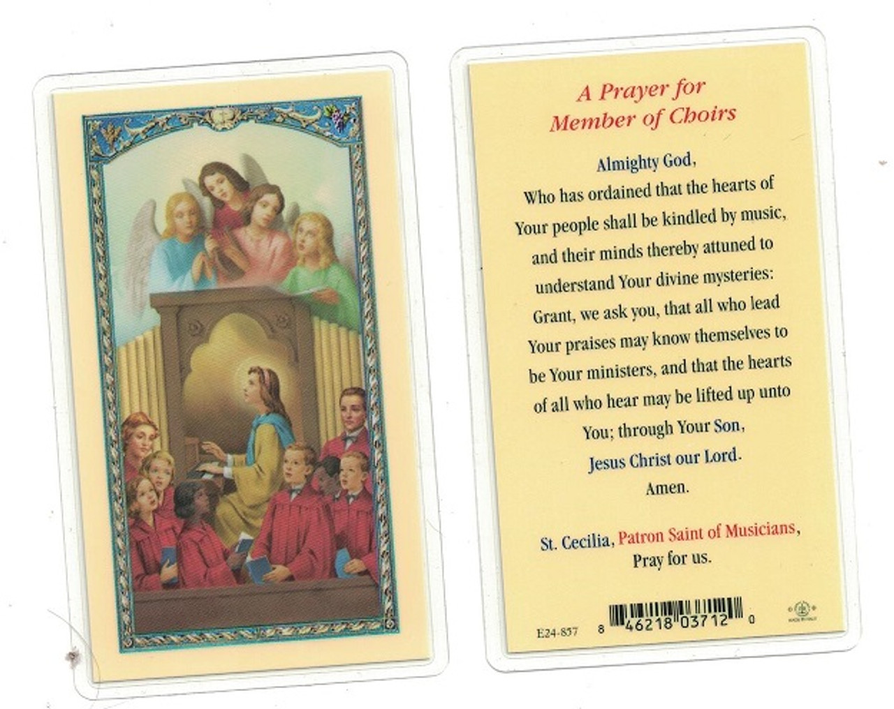 Prayers For Member Of Choirs Laminated Prayer Card
