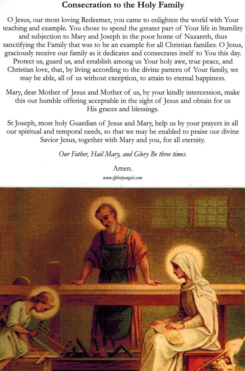 Consecration to the Holy Family Prayer Card
