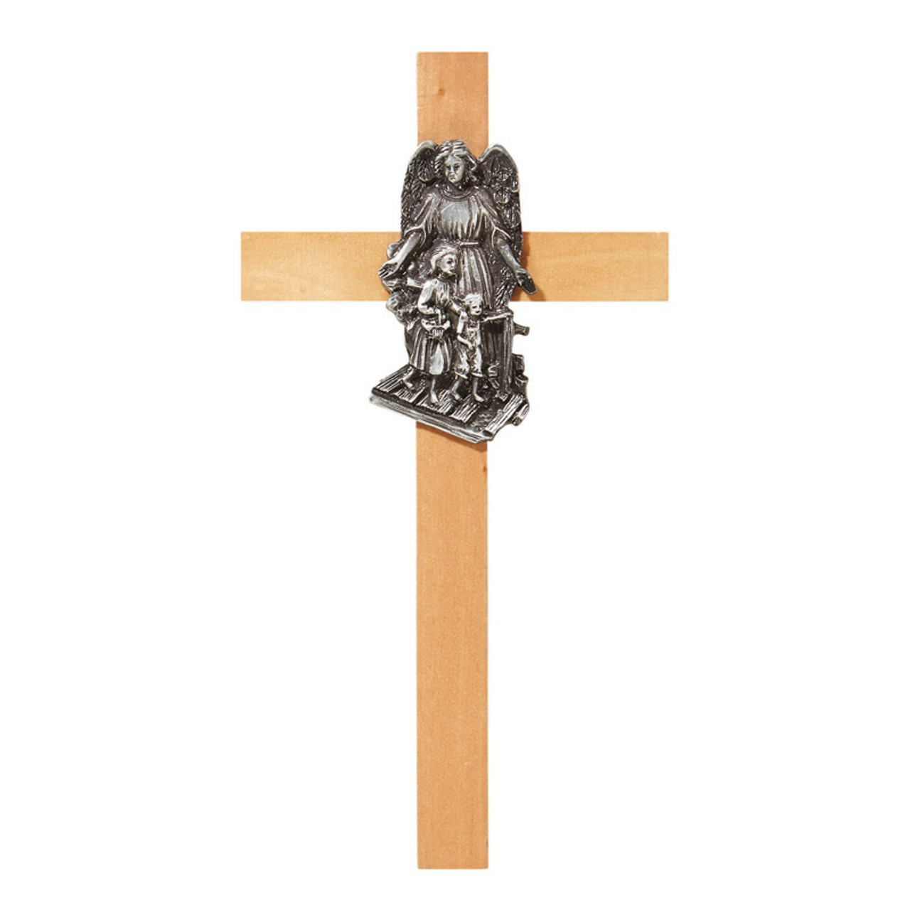 Guardian Angel Cross 6 inches. Oak and pewter.