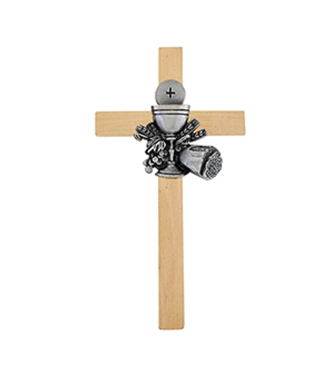 Chalice, Grapes, and Wheat First Communion Cross 6 inches Oak and Pewter