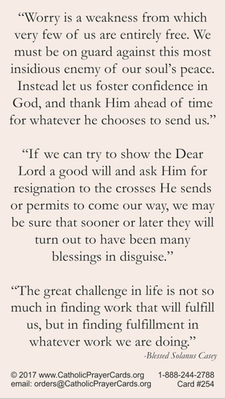 Blessed Solanus Casey Prayer Card