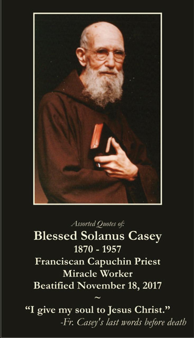 Solanus Casey prayer card with quotes