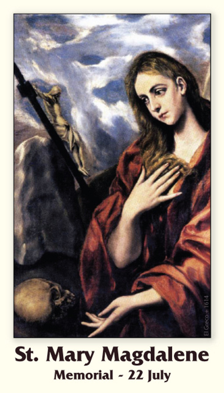 Saint Mary Magdalene Prayer card with reflection by Pope Saint Gregory the Great