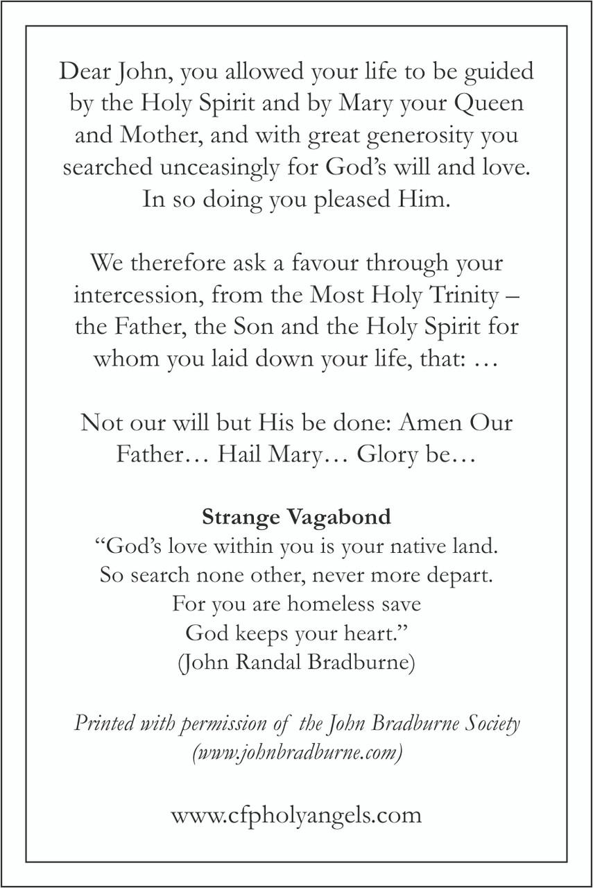 John Bradburne Prayer Card back