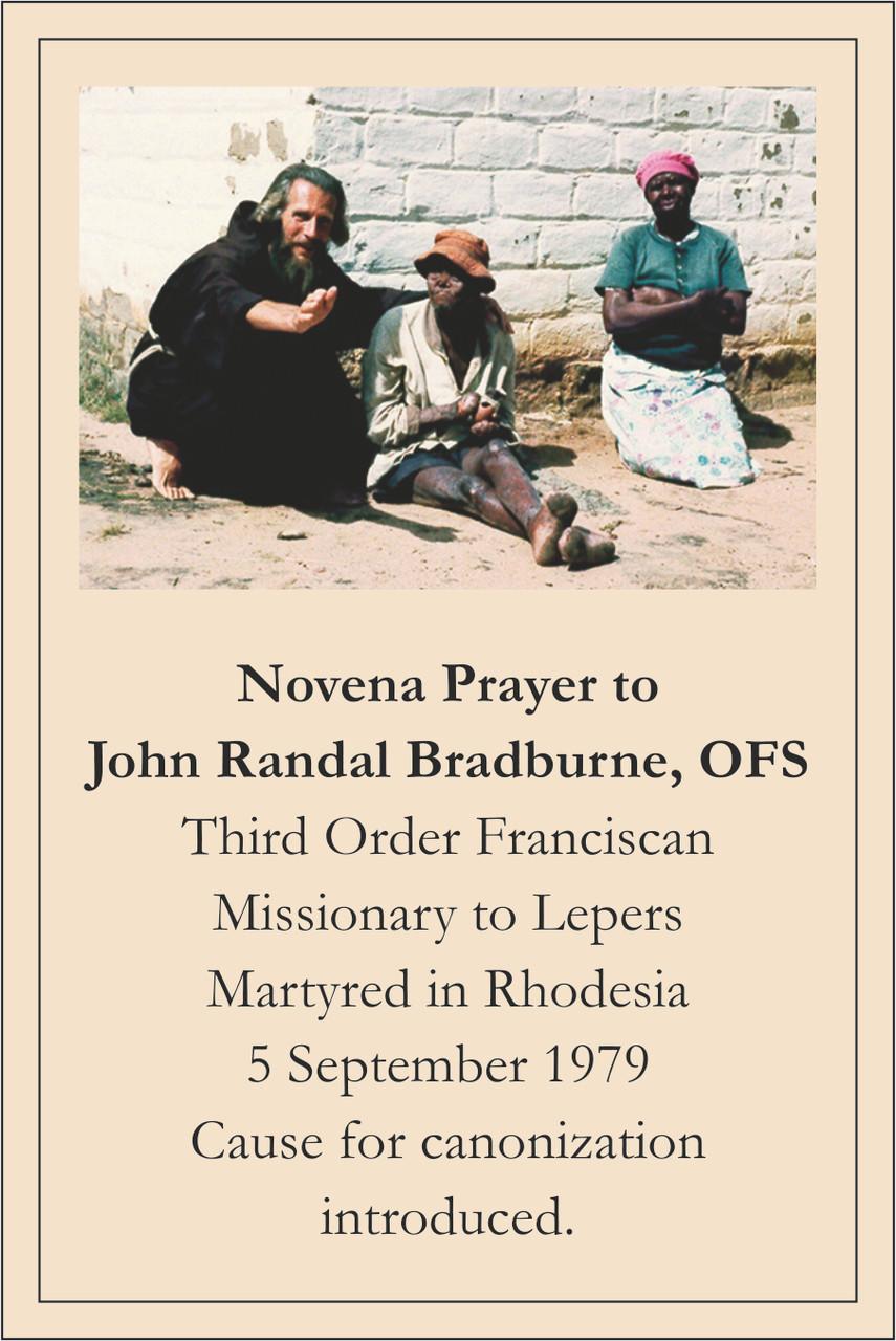 John Bradburne Prayer card front