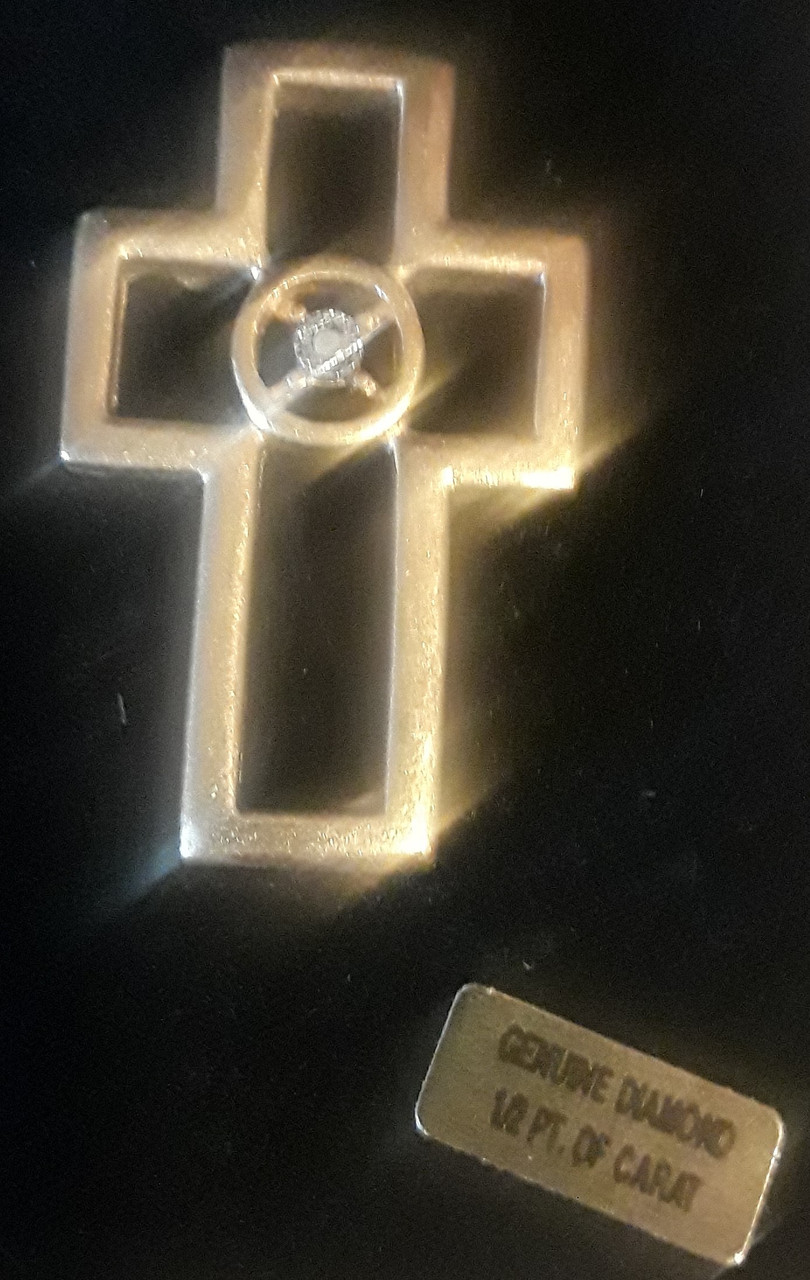 Rhinestone Gold Cross Pin