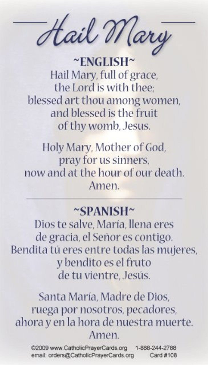 Hail Mary in English and Spanish prayer card