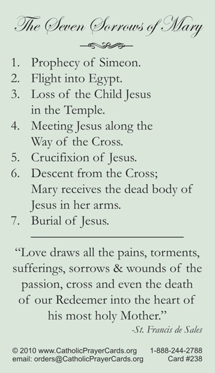 Our Lady of Sorrows Prayer Card with Seven Sorrows of the Blessed Mother