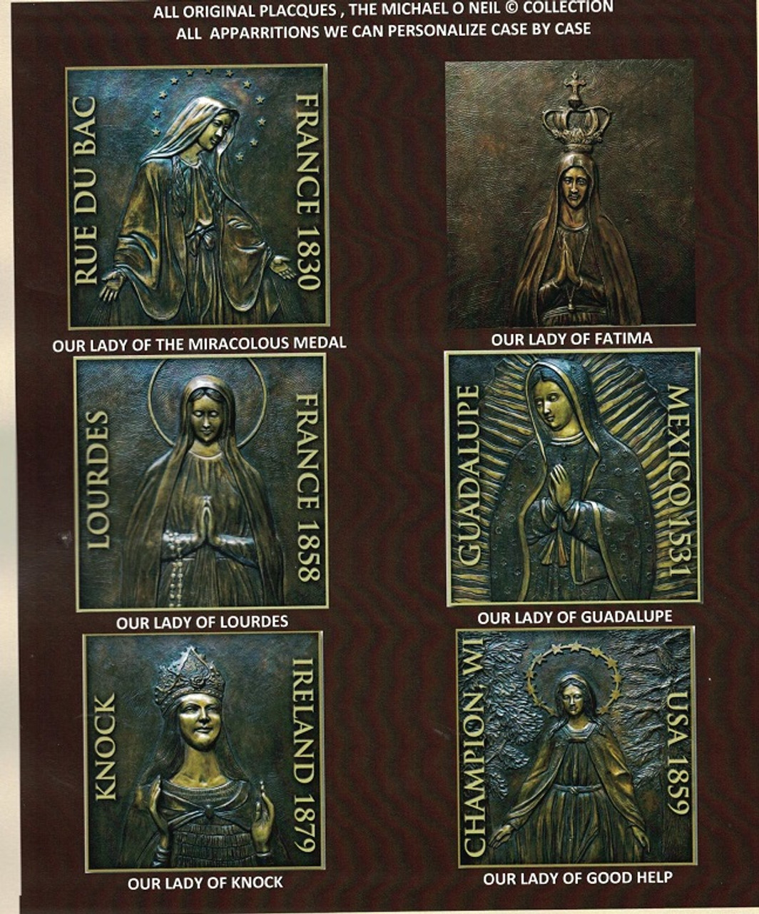 Custom Bronze Statuary Blessed Mother Plaques
