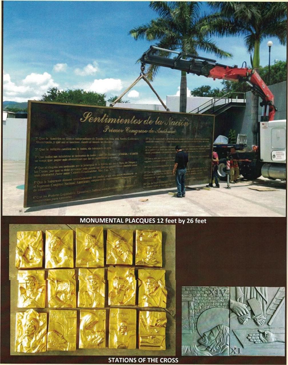 Custom Bronze Statuary Memorial Wall