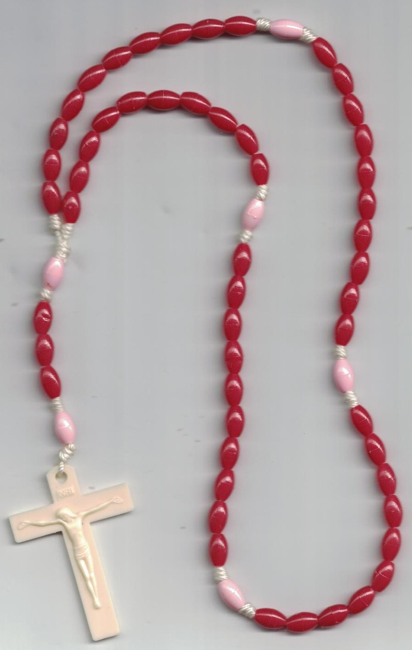 Red and Pink Plastic Rosary