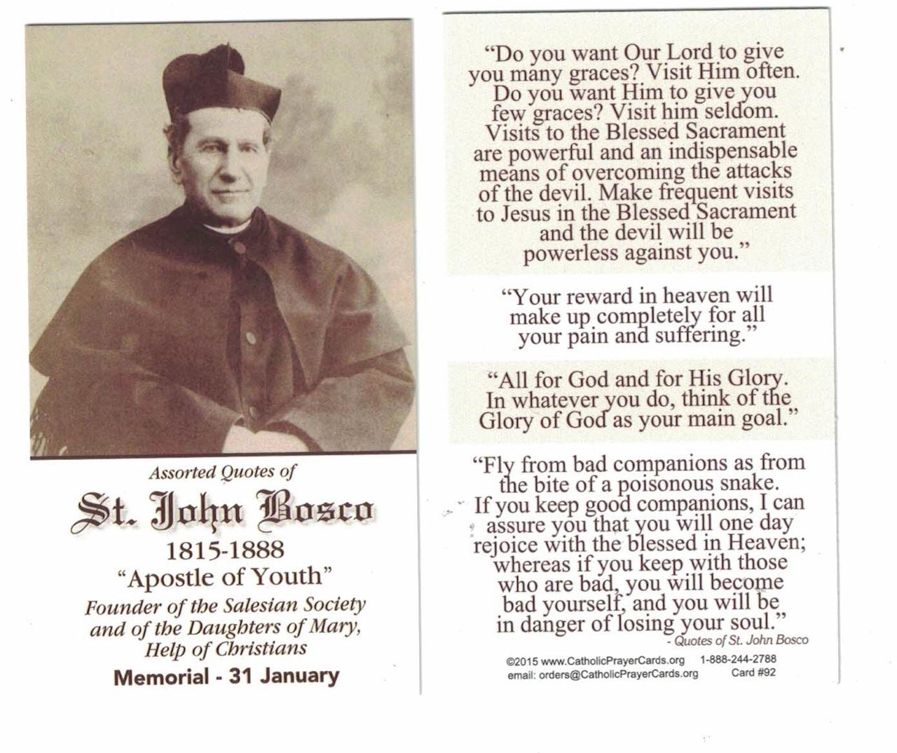 Saint John Bosco Prayer Card