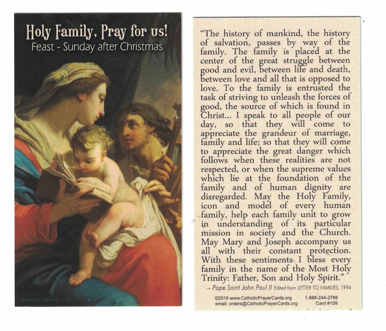 Holy Family, Pray for Us Prayer Card