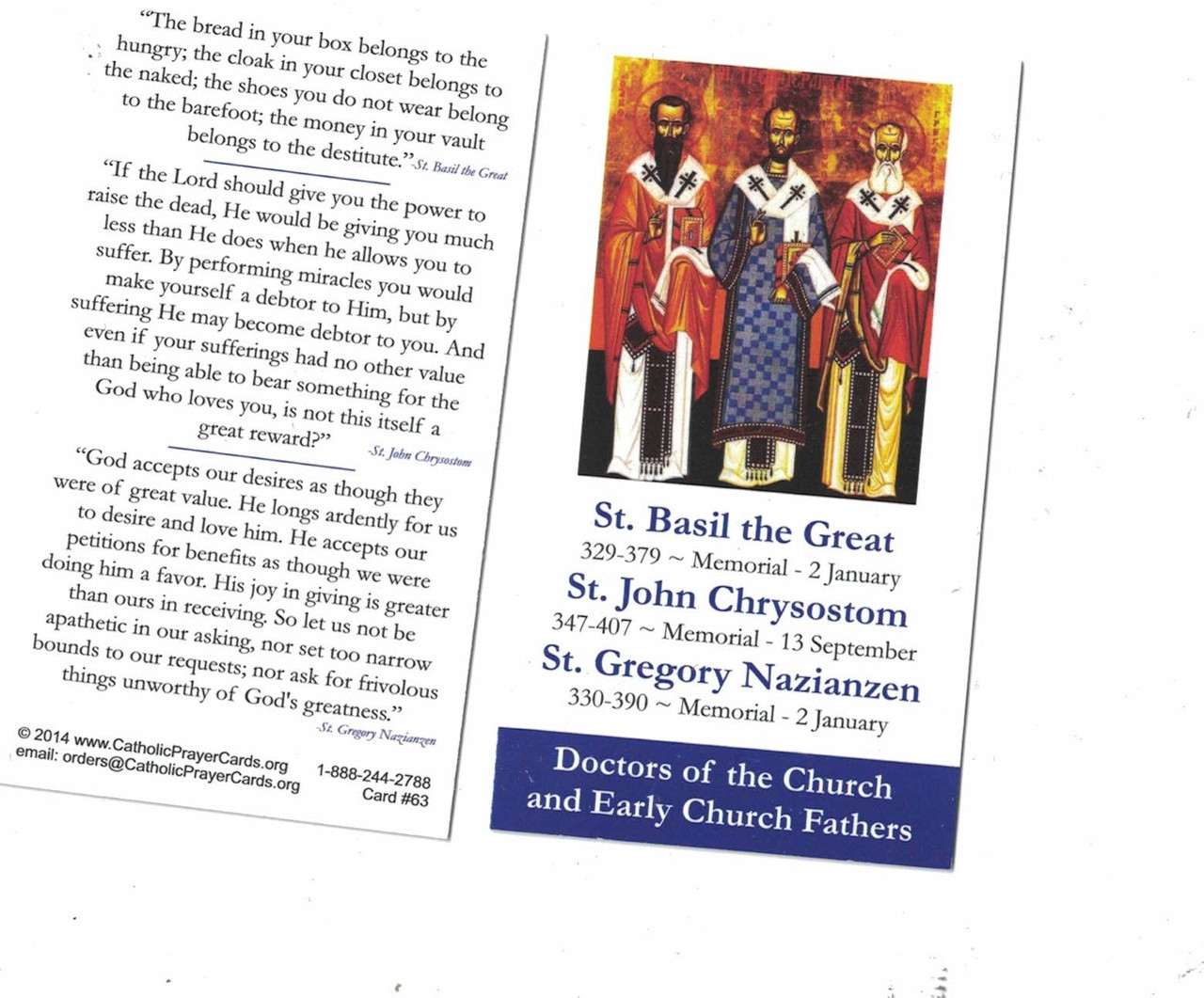 Doctors of the Church and Early Church Fathers Prayer Card