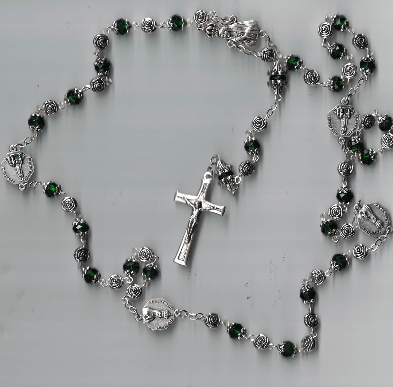 Fatima Emerald Green Crystal Rosary Hand Made in Portugal