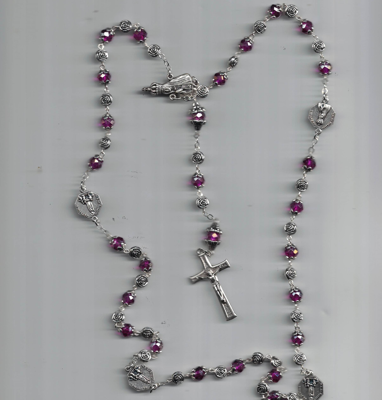 Amethyst Violet Crystal Bead Fatima Rosary