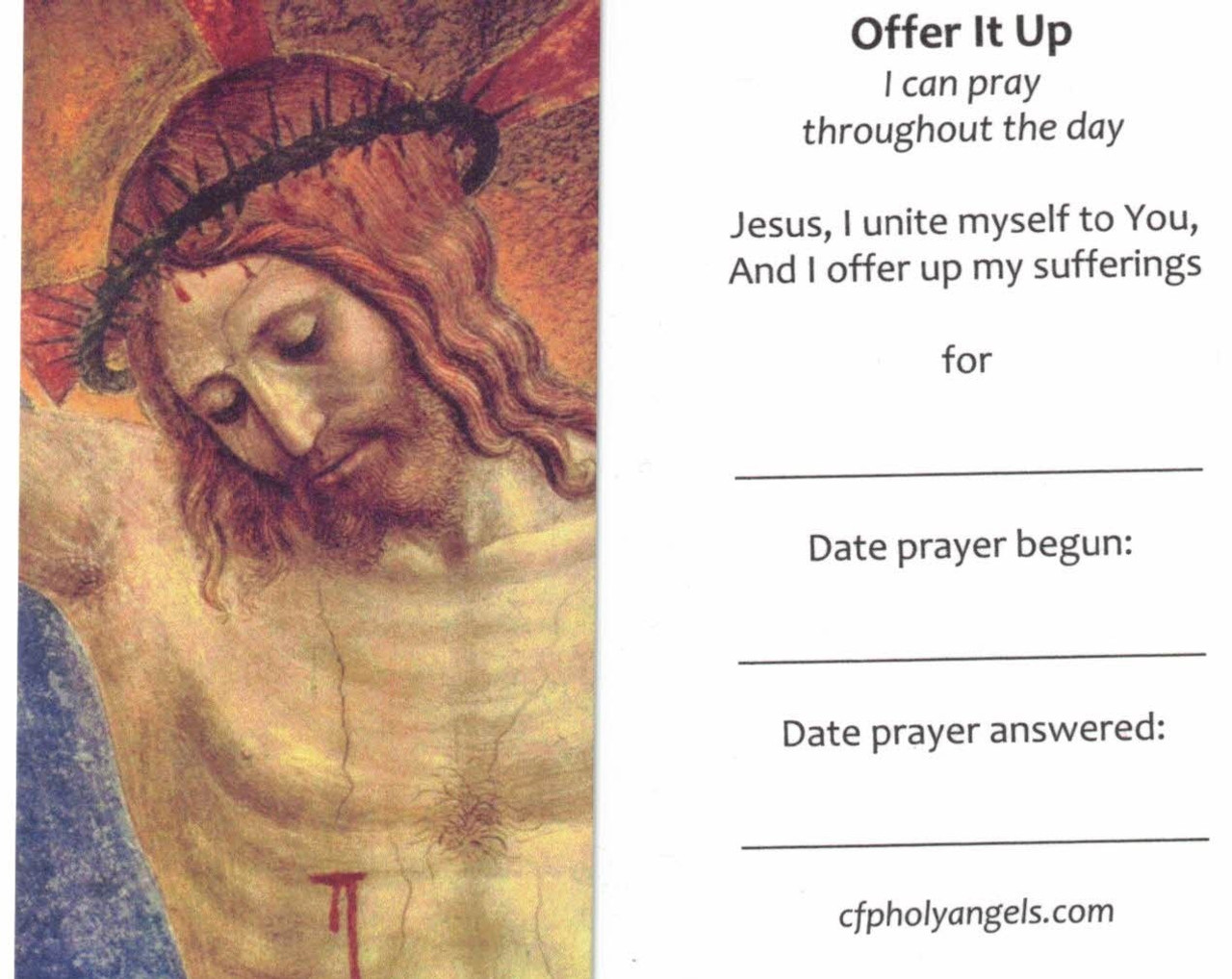 Offer It Up Prayer Card, Offer Up Your Sufferings