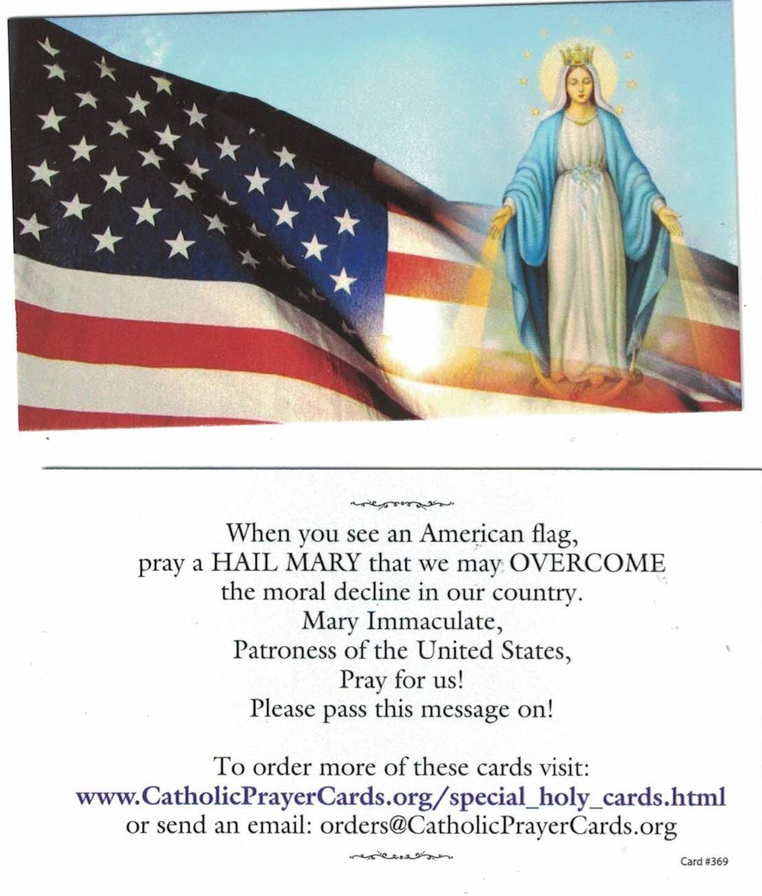 Say a Hail Mary When you see a USA flag prayer card