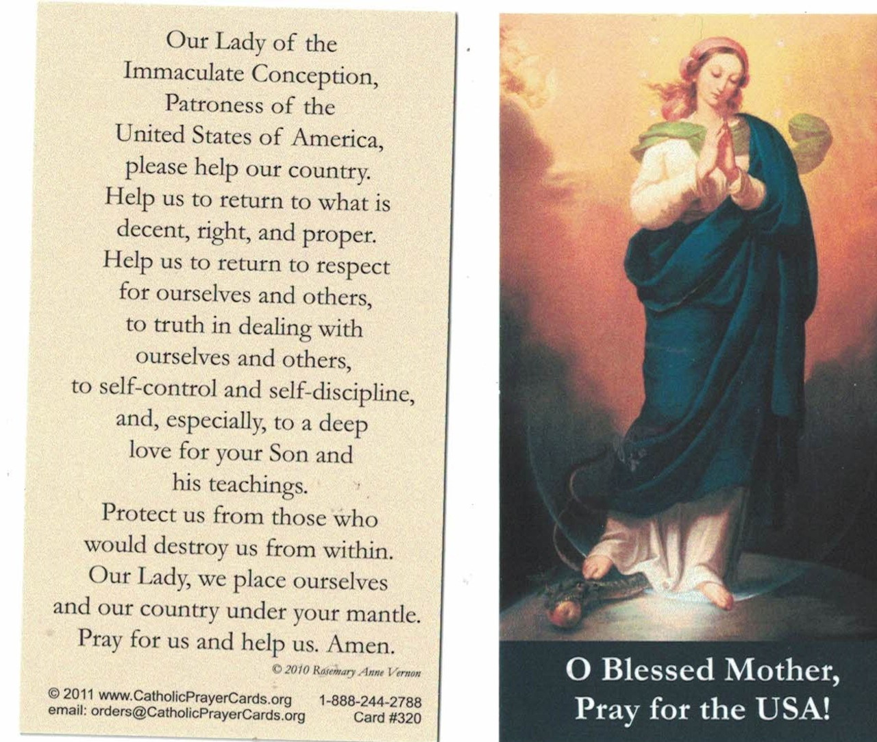 Prayer to Our Lady of the Immaculate Conception for the United States of America Prayer Card