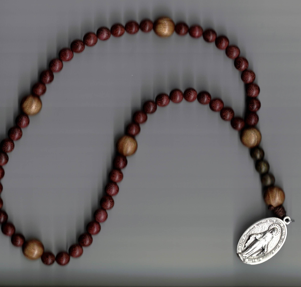 Hand Crafted by Br. Archangelo Wooden Rosary with Large Miraculous Medal